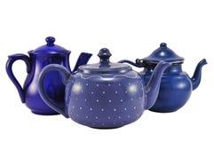 Tea pot. Three blue tea pots isolated on white background Royalty Free Stock Image