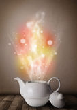 Tea pot with abstract steam and colorful lights Stock Photography