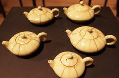 Tea pot artifact. Art of tea pot, artifact of porcelain Royalty Free Stock Photography