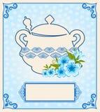 Tea pot with beautiful flowers Stock Photo