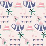 Tea pot and cake in a seamless pattern design