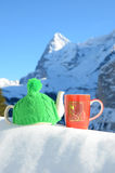 Tea pot in the cap and a cup Stock Photos