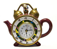 Tea pot with a clock Stock Image