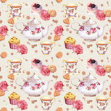 Tea pot,  cup, cakes and flowers. Repeating  pattern. Watercolour. Teatime - tea pot, cup, cakes and flowers. Repeating pattern. Water color Stock Photos