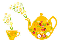 Tea pot and cup with fruits, vector Royalty Free Stock Photos