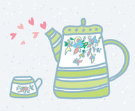 Tea pot, cup and love symbols background Stock Images