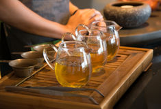 Tea pot and cups . Royalty Free Stock Photography