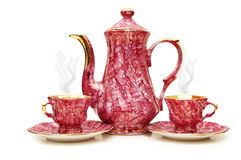 Tea pot and cups isolated Royalty Free Stock Photography