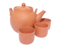 Tea-pot and three cups for tea Royalty Free Stock Image
