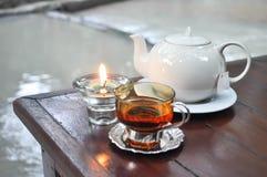 Tea pot and a glass of tea Stock Photo