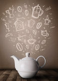 Tea pot with hand drawn kitchen accessories Stock Photography