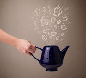 Tea pot with hand drawn kitchen accessories Stock Images