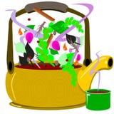 Tea pot with herbal tea Royalty Free Stock Photos