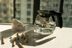 Tea pot with measure tape and pencil on the working table, working and rest concept Stock Photography