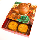 Tea pot and mooncakes Royalty Free Stock Photo