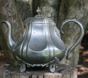 Tea Pot. Pewter silver tea outdoor fine antique old king queen fancy shine sheen treasure trove pirate hoard discover discovery find nature class classy stock images