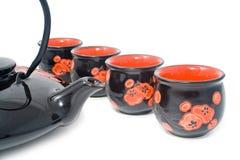 Tea-pot preto com dispositivos Foto de Stock Royalty Free