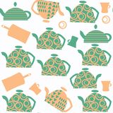 Tea pot seamless abstract pattern. It is located in swatch menu,. Vector  image Royalty Free Stock Images