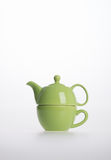 Tea pot set or Porcelain tea pot and cup on background. Stock Image