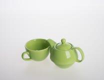 Tea pot set or Porcelain tea pot and cup on background. Stock Image