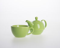 Tea pot set or Porcelain tea pot and cup on background. Royalty Free Stock Image