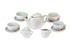 Tea pot set, porcelain tea pot and cup on background Royalty Free Stock Images