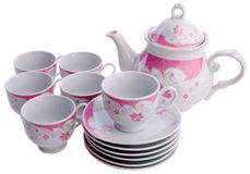 Tea pot set, Porcelain tea pot and cup on background Stock Images