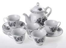Tea pot set, Porcelain tea pot and cup on white background. Stock Photo