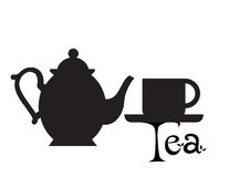 Tea pot silhouette. Teapot and cup with the text of the tea in white battleground Royalty Free Stock Photography