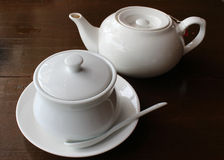 Tea pot and sugar bowl Royalty Free Stock Photo
