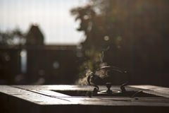 Tea pot on a table, Jiufeng. Royalty Free Stock Photos