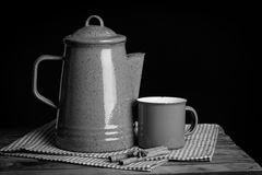 Tea pot on table Stock Photos