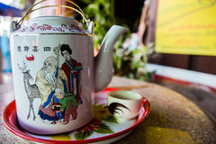Tea pot with tea in asia. Royalty Free Stock Image