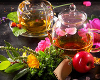 Tea pot and Tea cup on black background. With fruity rose flowers and herbs tea sorts with an empty tag royalty free stock photo