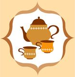 Tea pot with tea and cup  on colorful background Stock Photos