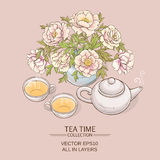 Tea pot with tea cup and sugar bowl. Illustration with cups, teapot and peonies  on color background Royalty Free Stock Photos