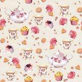 Tea pot, teacup, cakes, flowers. Repeated time wallpaper. Watercolor Stock Photo