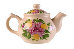 Tea pot. Traditional floral tea pot isolated on white background royalty free stock photo