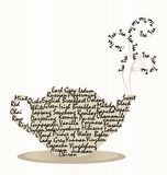Tea Pot Words with Steam on Stripes Royalty Free Stock Photos