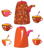 Tea pots and cups Royalty Free Stock Photo