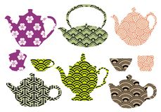 Tea pots and cups with asian pattern, vector Stock Photo