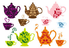 Tea pots and cups with baroque pattern, vector. Vintage tea pots and cups with baroque pattern, vector set Stock Image