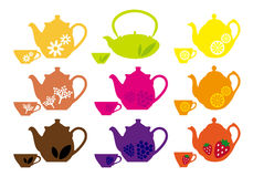 Tea pots and cups with fruits, vector Royalty Free Stock Image