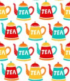 Tea pots cute simple seamless vector pattern. Tea pots cute colorful simple seamless vector pattern hot drink Royalty Free Stock Photography