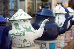 Tea Pots, white and blue. White and Blue tea pots in Egypt Royalty Free Stock Images