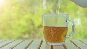 Tea pouring into cup from teapot on green nature background. Tea pouring into cup from teapot stock video footage