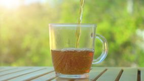 Tea pouring into cup from teapot on green nature background with bright summer sunlight. Tea pouring into cup from teapot stock video
