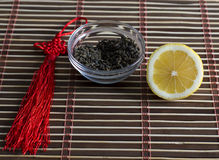 Tea for preparation of drink and the cut lemon Royalty Free Stock Image