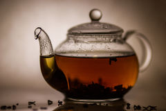 Tea preparation in a glass teapot. On a grey background Stock Image