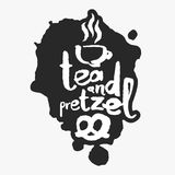 Tea And Pretzel in an Ink Blot Royalty Free Stock Photo